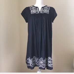 Navy Embroidered Peasant Boho Dress Large